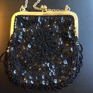Vintage handbag black bling
